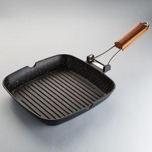 Сковорода-гриль ЗАБАВА РК-4032А 28х28см из литого алюминия со складной ручкой  ЯШМА
